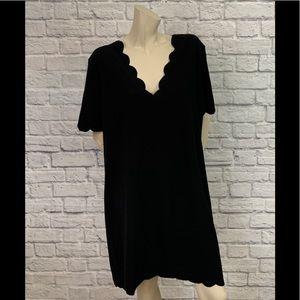 BOOHOO BLACK SCALLOPED EDGE SHORT SLEEVE DRESS